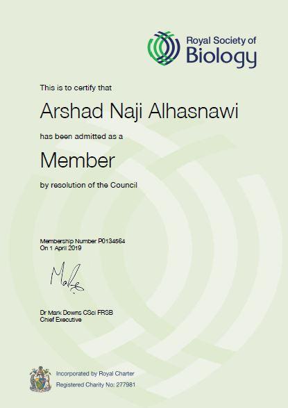 تدريسي في كلية التربية الصرفة يحصل على عضوية الجمعية الملكية للبيولوجيا