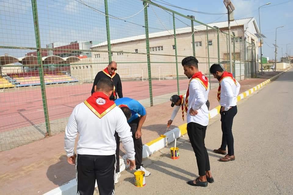 جامعة المثنى تنظم حملة تطوعية لإدامة وتأهيل اروقتها وملاعبها الرياضية